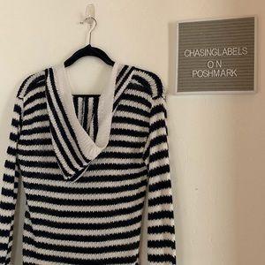 Cynthia Rowley : crochet striped hooded coverup